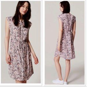 LOFT Floral Flutter Button Down Shirt Dress